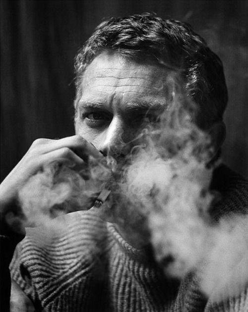 Steve McQueen smoking